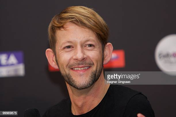 Michael von der Heide of Switzerland performs during a press conference after the open rehearsal at the Telenor Arena on May 18 2010 in Oslo Norway...