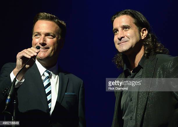 Michael W Smith and Scott Stapp present the Artist of the Year Award at the 2nd Annual KLOVE Fan Awards at the Grand Ole Opry House on June 1 2014 in...