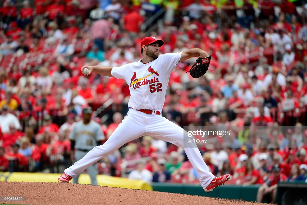Michael Wacha #52 of the St. Louis Cardinals pitches during the second inning against the Pittsburgh Pirates at Busch Stadium on April 19, 2017 in St Louis, Missouri.