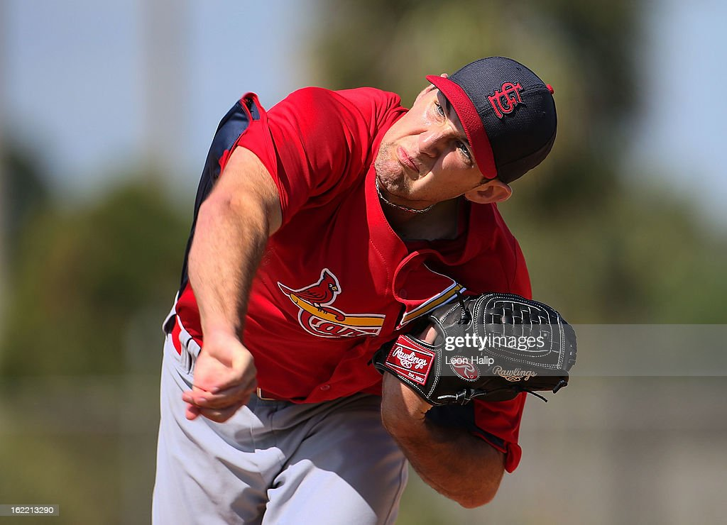 Michael Wacha #74 of the St. Louis Cardinals pitches the live hitting session during spring training on February 20, 2013 in Jupiter, Florida.