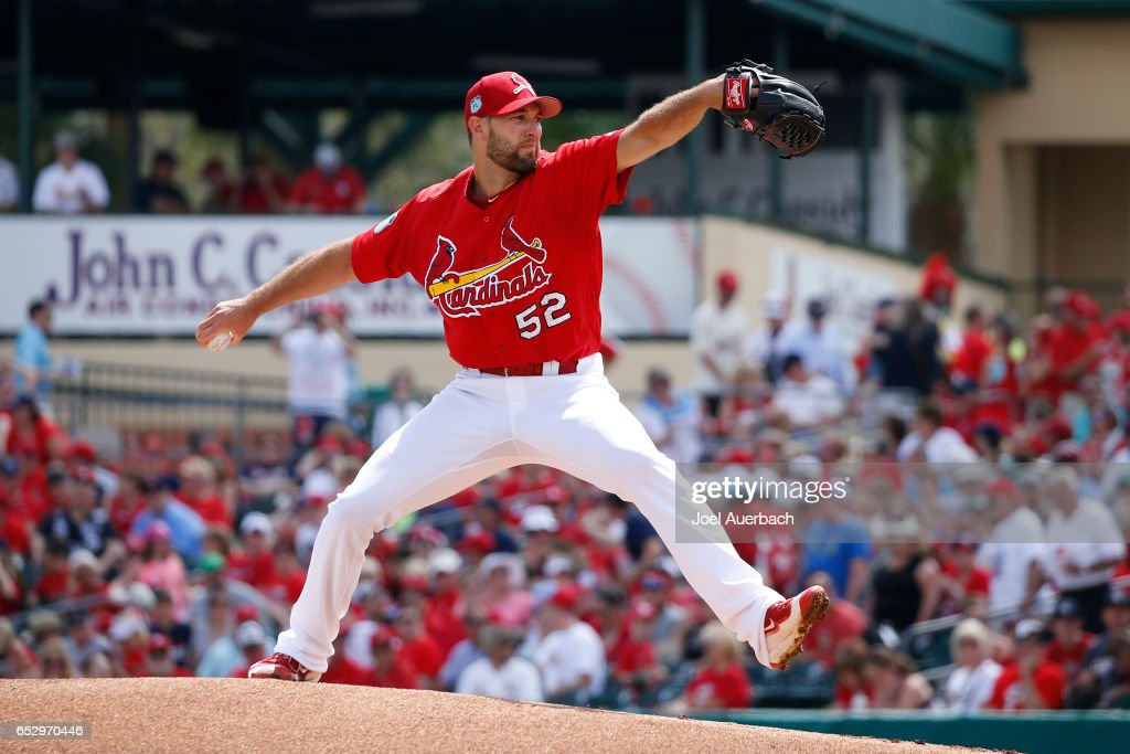 Michael Wacha #52 of the St Louis Cardinals throws the ball against the Houston Astros in the first inning during a spring training game at Roger Dean Stadium on March 13, 2017 in Jupiter, Florida. The Cardinals defeated the Astros 6-3.