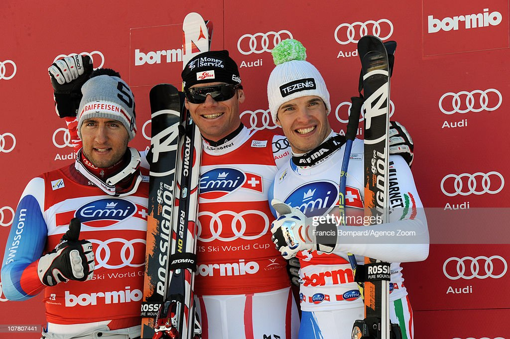<a gi-track='captionPersonalityLinkClicked' href=/galleries/search?phrase=Michael+Walchhofer&family=editorial&specificpeople=213500 ng-click='$event.stopPropagation()'>Michael Walchhofer</a> of Austria takes 1st place, <a gi-track='captionPersonalityLinkClicked' href=/galleries/search?phrase=Silvan+Zurbriggen&family=editorial&specificpeople=817527 ng-click='$event.stopPropagation()'>Silvan Zurbriggen</a> of Switzerland takes 2nd place, <a gi-track='captionPersonalityLinkClicked' href=/galleries/search?phrase=Christof+Innerhofer&family=editorial&specificpeople=4104734 ng-click='$event.stopPropagation()'>Christof Innerhofer</a> of Italy takes 3rd place during the Audi FIS Alpine Ski World Cup Men's Downhill on December 29, 2010 in Bormio, Italy.