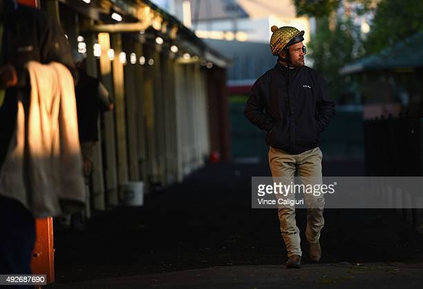 Michael Walker leaves the track after riding Criterion during a trackwork session at Moonee Valley Racecourse on October 15 2015 in Melbourne...
