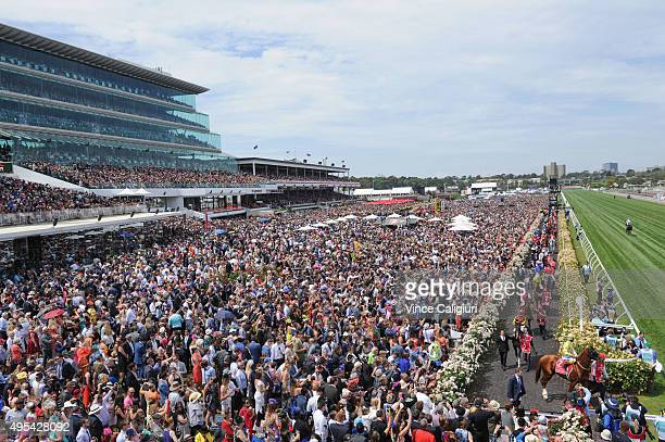 Michael Walker riding Criterion onto the track in front of huge crowd before race 7 the Emirates Melbourne Cup on Melbourne Cup Day at Flemington...