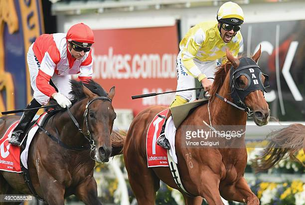 Michael Walker riding Criterion reacts after defeating Happy Trails and Opie Bosson riding Mongolian Khan in Race 6 the Ladbrokes Caulfield Stakes...