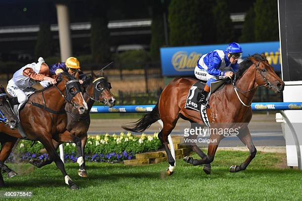 Michael Walker riding Sovereign Nation wins Race 5 the Jeep Stutt Stakes during Melbourne Racing at Moonee Valley Racecourse on October 2 2015 in...