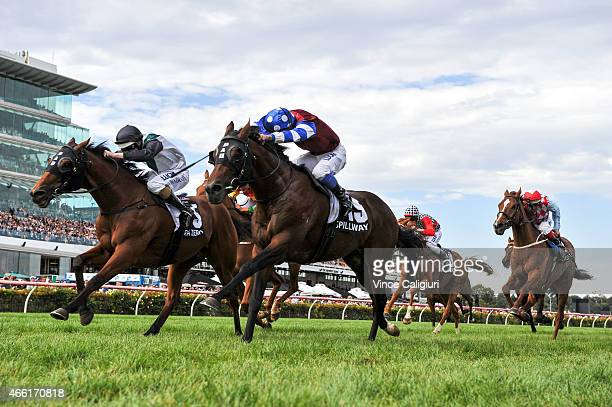Michael Walker riding Spillway defeats Damian Lane riding Extra Zero in Race 7 the Australian Cup during Melbourne racing at Flemington Racecourse on...