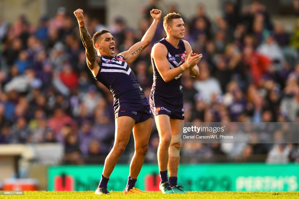 Michael Walters of the Dockers celebrates a goal during the 2017 AFL round 09 match between the Fremantle Dockers and the Carlton Blues at Domain Stadium on May 21, 2017 in Melbourne, Australia.