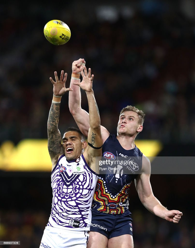 Michael Walters of the Dockers is spolied by Rory Laird of the Crows during the round 10 AFL match between the Adelaide Crows and the Fremantle Dockers at Adelaide Oval on May 27, 2017 in Adelaide, Australia.