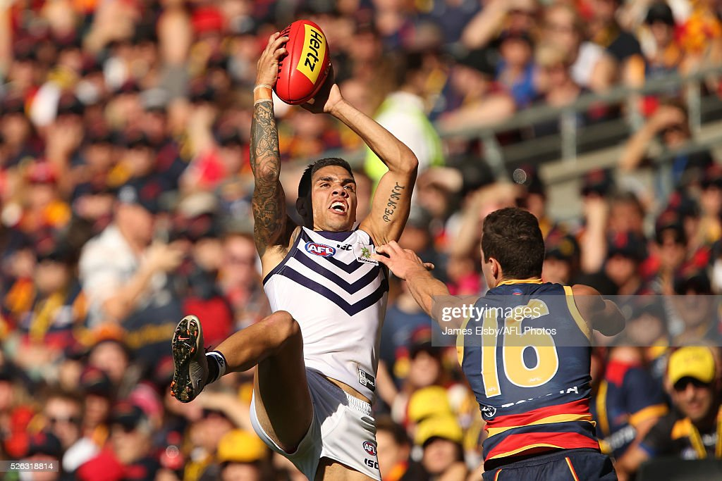 Michael Walters of the Dockers marks over Charlie Cameron of the Crows during the 2016 AFL Round 06 match between the Adelaide Crows and the Fremantle Dockers at Adelaide Oval, Adelaide on April 30, 2016.