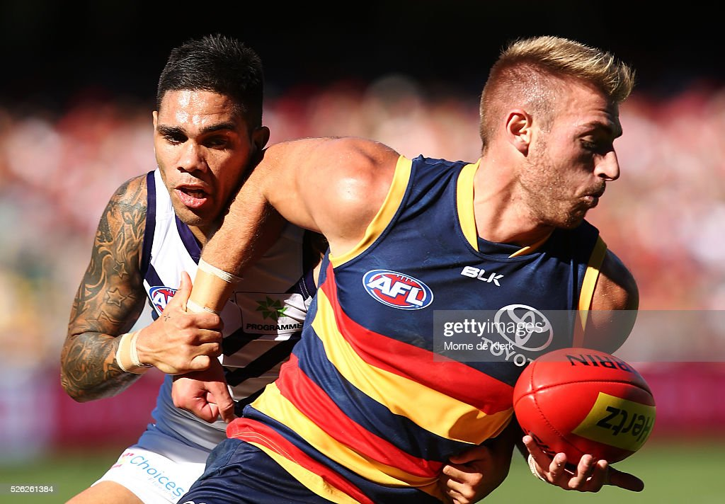 Michael Walters of the Dockers tackles Daniel Talia of the Crows during the round six AFL match between the Adelaide Crows and the Fremantle Dockers at Adelaide Oval on April 30, 2016 in Adelaide, Australia.
