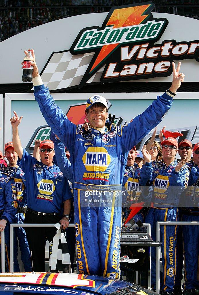 Michael Waltrip celebrates winning the first Gatorade Duel race at the NASCAR Nextel Cup Daytona 500 on February 17 2005 at the Daytona International...