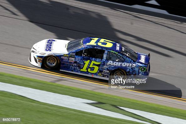Michael Waltrip driver of the Aaron's Toyota during practice for the NASCAR Monster Energy Cup Series Daytona 500 on February 24 at the Daytona...
