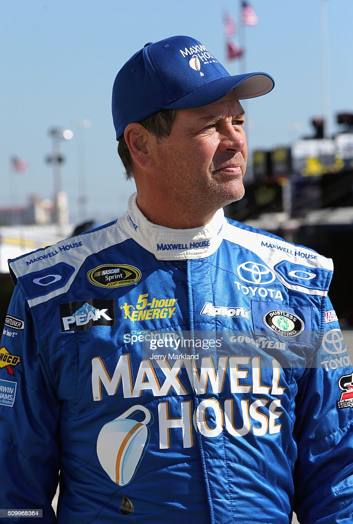 <a gi-track='captionPersonalityLinkClicked' href=/galleries/search?phrase=Michael+Waltrip&family=editorial&specificpeople=204621 ng-click='$event.stopPropagation()'>Michael Waltrip</a>, driver of the #83 Maxwell House Toyota, looks on in the garage area during practice for the NASCAR Sprint Cup Series Daytona 500 at Daytona International Speedway on February 13, 2016 in Daytona Beach, Florida.