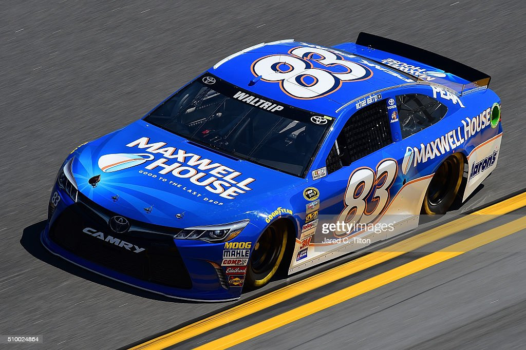 <a gi-track='captionPersonalityLinkClicked' href=/galleries/search?phrase=Michael+Waltrip&family=editorial&specificpeople=204621 ng-click='$event.stopPropagation()'>Michael Waltrip</a>, driver of the #83 Maxwell House Toyota, practices for the NASCAR Sprint Cup Series Daytona 500 at Daytona International Speedway on February 13, 2016 in Daytona Beach, Florida.