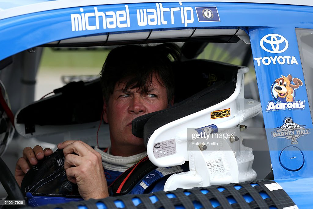<a gi-track='captionPersonalityLinkClicked' href=/galleries/search?phrase=Michael+Waltrip&family=editorial&specificpeople=204621 ng-click='$event.stopPropagation()'>Michael Waltrip</a>, driver of the #83 Maxwell House Toyota, sits in his car during qualifying for the NASCAR Sprint Cup Series Daytona 500 at Daytona International Speedway on February 14, 2016 in Daytona Beach, Florida.