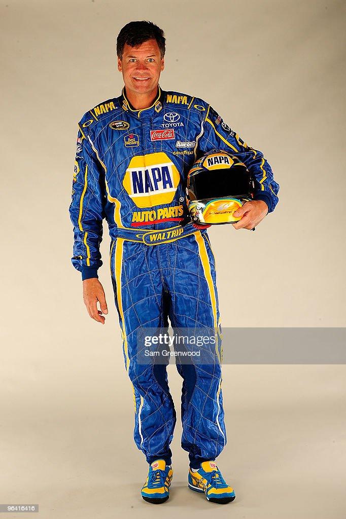 Michael Waltrip driver of the NAPA Auto Parts Toyota poses during NASCAR media day at Daytona International Speedway on February 4 2010 in Daytona...