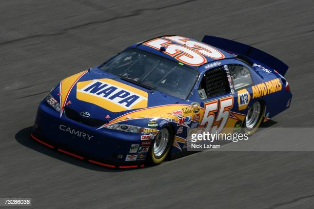 Michael Waltrip driver of the NAPA Auto Parts Toyota practices for the Daytona 500 at Daytona International Speedway on February 10 2007 in Daytona...