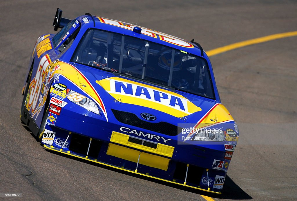 Michael Waltrip driver of the NAPA Toyota drives during practice for the NASCAR Nextel Cup Series Subway Fresh Fit 500 at Phoenix International...