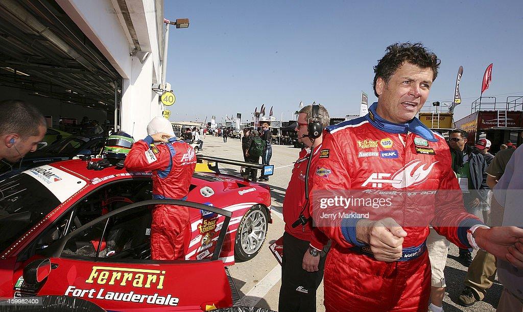 <a gi-track='captionPersonalityLinkClicked' href=/galleries/search?phrase=Michael+Waltrip&family=editorial&specificpeople=204621 ng-click='$event.stopPropagation()'>Michael Waltrip</a>, driver of the #56 RK Motorsports Ferraqri 458, stands in the garage area practice at Daytona International Speedway on January 24, 2013 in Daytona Beach, Florida.