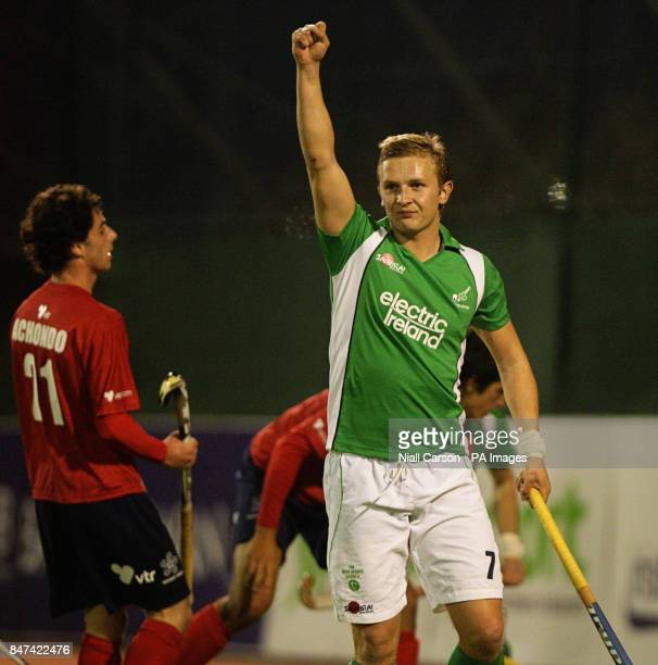 Michael Watt of Ireland celebrates his second goal during the FIH Olympic Games Qualifying Tournament at the Belfield Dublin