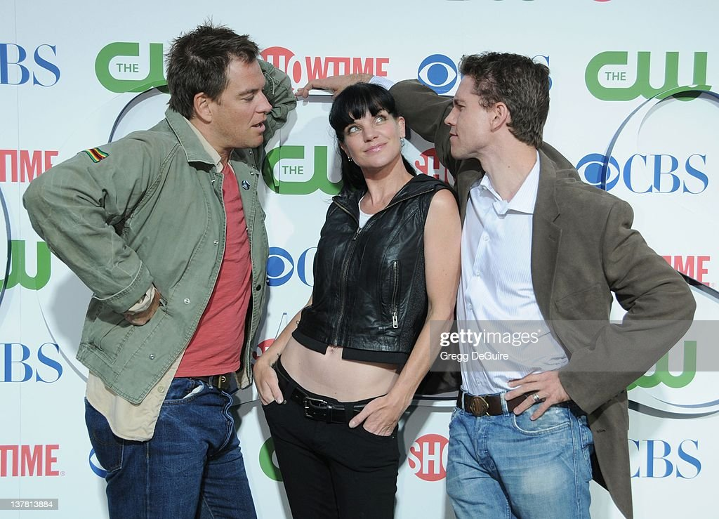 Michael Weatherly Pauley Perrette and Brian Dietzen arrive at the CBS The CW Showtime Summer Press Tour Party held at The Tent on July 28 2010 in...