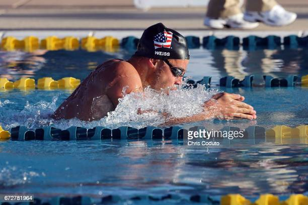 Michael Weiss competes in the finals of the men's 200 meter individual medley on day three of the Arena Pro Swim Series Mesa at Skyline Aquatic...