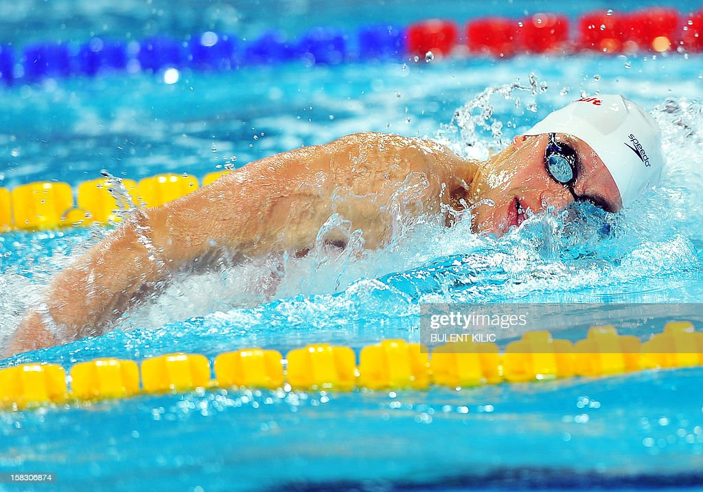 <a gi-track='captionPersonalityLinkClicked' href=/galleries/search?phrase=Michael+Weiss+-+Swimmer&family=editorial&specificpeople=14835132 ng-click='$event.stopPropagation()'>Michael Weiss</a> of the US competes during the men's 4x200m freestyle qualification on December 13, 2012 at the FINA World Short Course Swimming Championships in Istanbul.