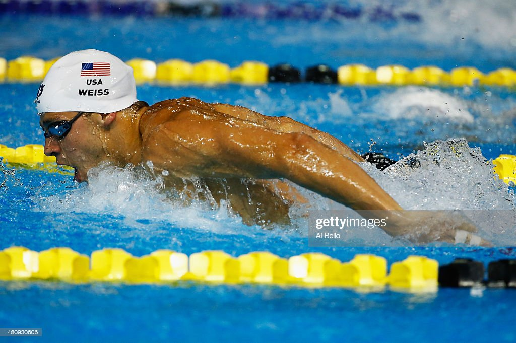 <a gi-track='captionPersonalityLinkClicked' href=/galleries/search?phrase=Michael+Weiss+-+Swimmer&family=editorial&specificpeople=14835132 ng-click='$event.stopPropagation()'>Michael Weiss</a> of the USA swims during the Men's 400m Individual Medley heats at the Pan Am Games on July 16, 2015 in Toronto, Canada.
