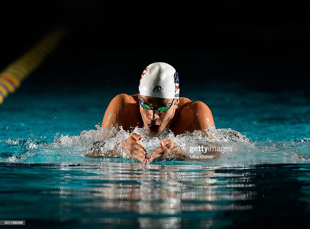 <a gi-track='captionPersonalityLinkClicked' href=/galleries/search?phrase=Michael+Weiss+-+Swimmer&family=editorial&specificpeople=14835132 ng-click='$event.stopPropagation()'>Michael Weiss</a> swims the breaststroke leg of a 400m IM during preliminary heats of the 2016 Arena Pro Swim Series at Charlotte swim meet at Mecklenburg County Aquatic Center on May 13, 2016 in Charlotte, North Carolina.
