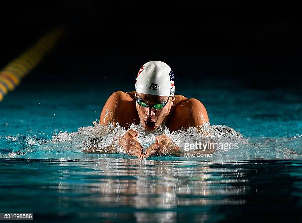 Michael Weiss swims the breaststroke leg of a 400m IM during preliminary heats of the 2016 Arena Pro Swim Series at Charlotte swim meet at...