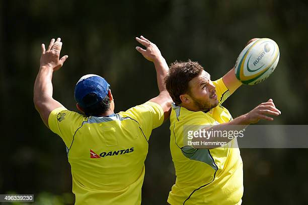 Michael Wells contests a high ball during an Australian men's rugby sevens training session at Sydney Academy of Sport on November 9 2015 in Sydney...