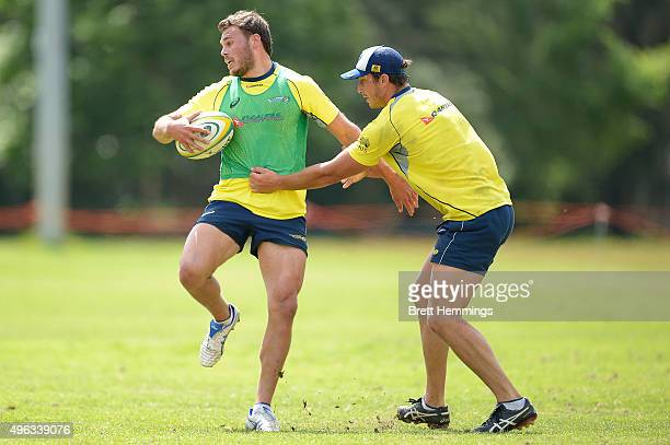 Michael Wells runs the ballduring an Australian men's rugby sevens training session at Sydney Academy of Sport on November 9 2015 in Sydney Australia