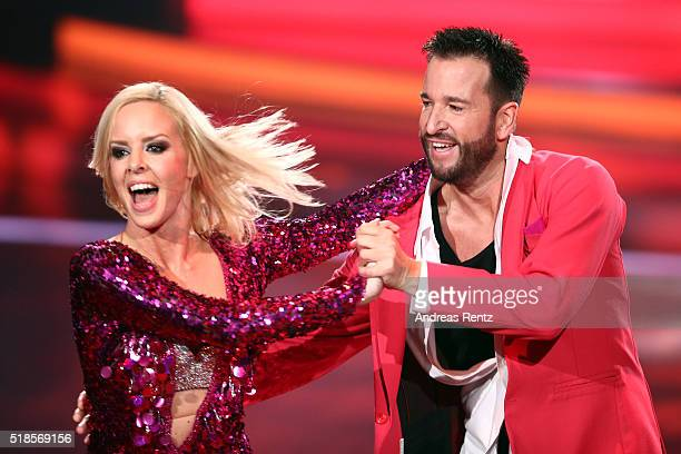 Michael Wendler and Isabel Edvardsson perform on stage during the 3rd show of the television competition 'Let's Dance' on April 1 2016 in Cologne...