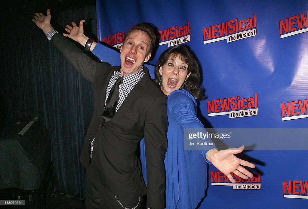 Michael West and Christine Pedi attend the opening night after party for 'NEWSical the Musical End of the World Edition' at the West Bank Cafe on...