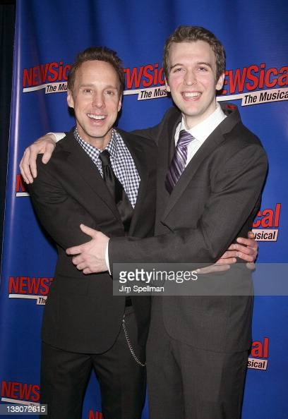 Michael West and John Walton West attend the opening night after party for 'NEWSical the Musical End of the World Edition' at the West Bank Cafe on...