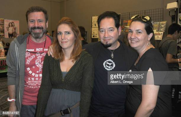 Michael Westmore Jacqueline Goehner and Kato DeStefan attend Day 2 of the 2017 Son Of Monsterpalooza Convention held at Marriott Burbank Airport...