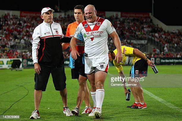 Michael Weyman of the Dragons is assisted from the field during the round seven NRL match between the St George Illawarra Dragons and the Newcastle...