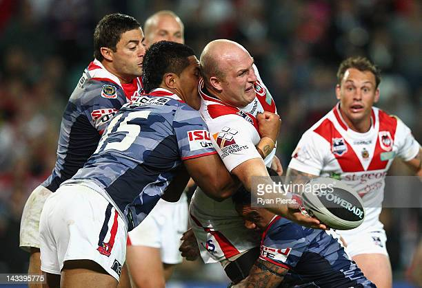 Michael Weyman of the Dragons passes during the round eight NRL match between the St George Illawarra Dragons and the Sydney Roosters at Allianz...