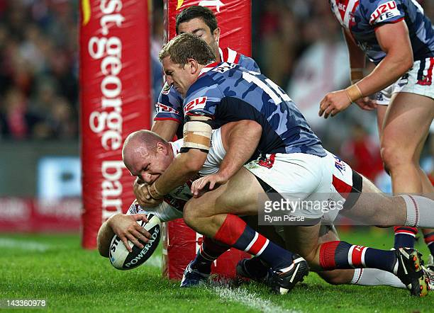 Michael Weyman of the Dragons scores a try during the round eight NRL match between the St George Illawarra Dragons and the Sydney Roosters at...