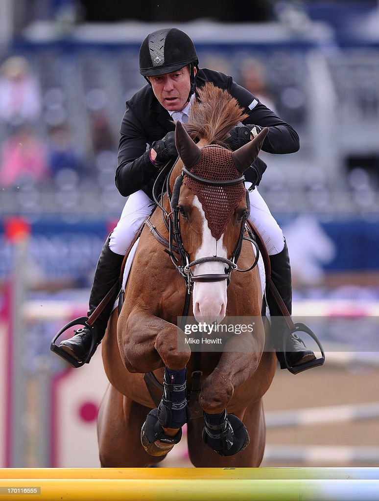 <a gi-track='captionPersonalityLinkClicked' href=/galleries/search?phrase=Michael+Whitaker&family=editorial&specificpeople=607520 ng-click='$event.stopPropagation()'>Michael Whitaker</a> of Great Britain on Viking in action during the Longines Global Champions Tour of London - Day Two at Olympic Park on June 7, 2013 in London, England.