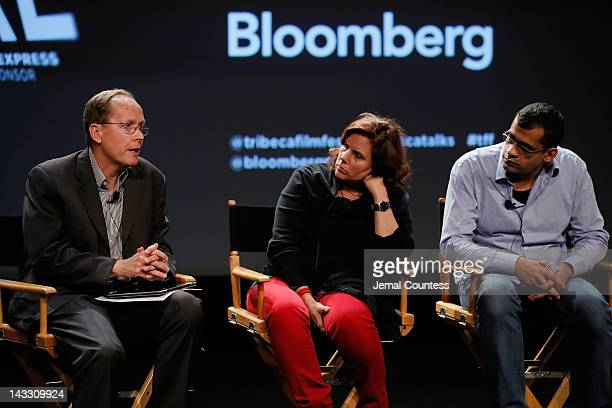 Michael White Lydia Dean Pilcher and Namir Abdel Messeh attend Tribeca Talks Industry The Business Of Entertainment during the 2012 Tribeca Film...