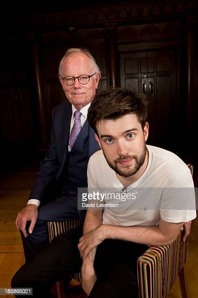 Michael Whitehall and Jack Whitehall pose during 'Him Me' an evening of entertainment by Jack Whitehall and his father Michael Whitehall at Cadogan...