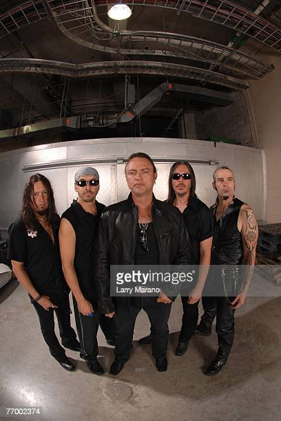 Michael Wilton Scott Rockenfield Geoff Tate Eddie Jackson Mike Stone of Queensryche pose for a portrait backstage at The Bank Atlantic Center...