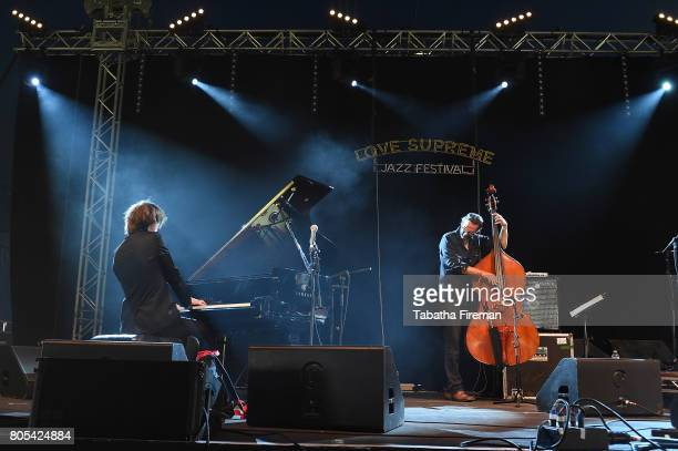 Michael Wollny and Tim Lefebvre of Michael Wollny Trio perform on the Big Top stage on Day 2 of Love Supreme Jazz Festival at Glynde Place on July 1...