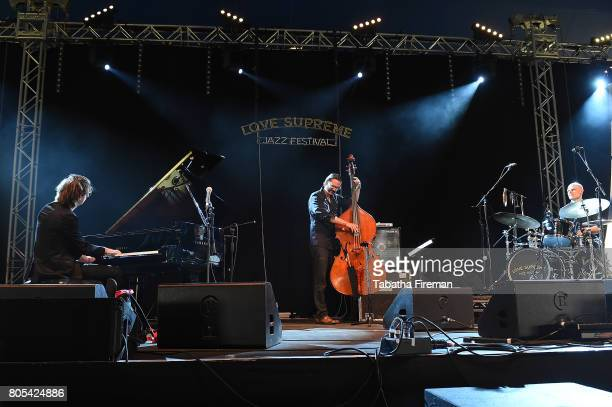 Michael Wollny Tim Lefebvre and Eric Schaefer of Michael Wollny Trio perform on the Big Top stage on Day 2 of Love Supreme Jazz Festival at Glynde...
