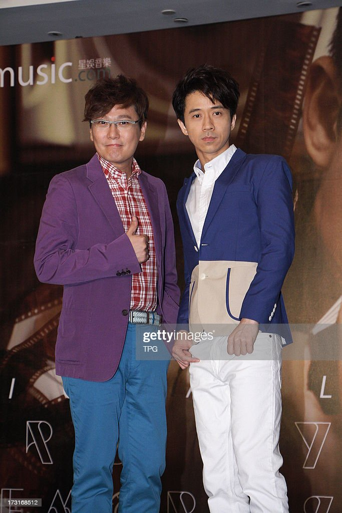 Michael Wong at the conference of the new album and Jeff Chang were present to support on Monday July 08,2013 in Taipei, Taiwan, China.