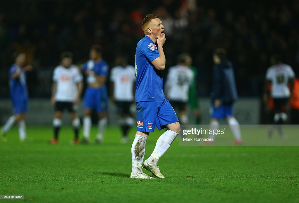 Michael Woods of Hartlepool United walks from the pitch after his side lost to Derby County 2-1 during The Emirates FA Cup third round match between Hartlepool United FC and Derby County FC at Victoria Park on January 9, 2016 in Hartlepool, England.