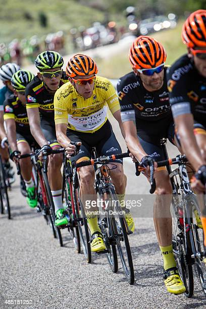 Michael Woods of the Optum Pro Cycling Team rides in the yellow race leaders jersey during stage 6 of the Tour of Utah on August 8 2015 in Salt Lake...