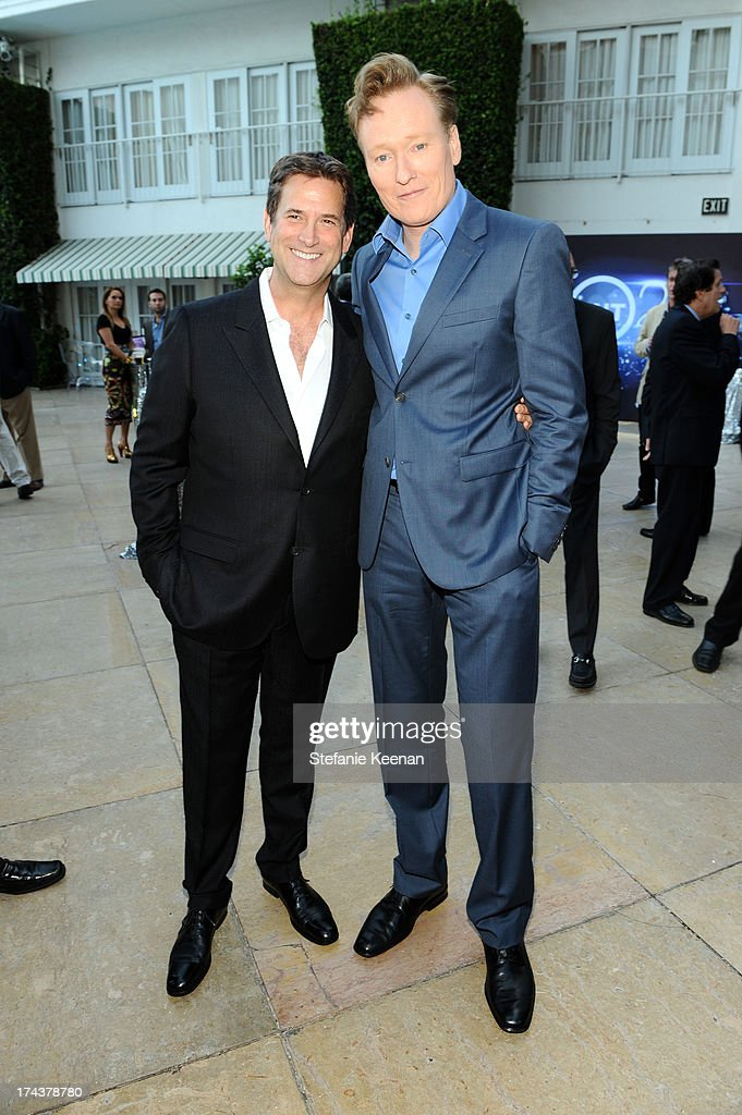 Michael Wright, President, Head of Programming TNT, TBS & TCM and TV personality Conan O'Brien attend TNT 25TH Anniversary Party during Turner Broadcasting's 2013 TCA Summer Tour at The Beverly Hilton Hotel on July 24, 2013 in Beverly Hills, California.